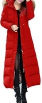 LYXCLS Women's Slim Raccon Fur Hooded Warm Duck Down Long Down Coat