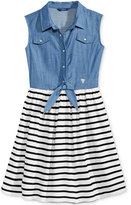 GUESS Sleeveless Chambray & Stripes Dress, Big Girls (7-16)