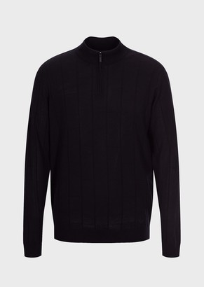 Emporio Armani Turtleneck In Pure Virgin Wool With Check Weave