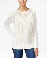 Amy Byer Juniors' Crocheted Fringe-Trim Sweater