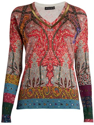 Etro Embellished Silk & Cashmere V-Neck Sweater