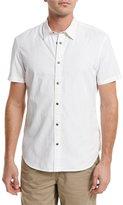 John Varvatos Grid-Stitch Short-Sleeve Snap Shirt, White
