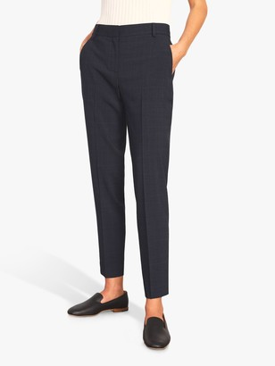 Jigsaw Prince Cropped Check Trousers, Navy