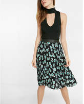 Express high waisted floral pleated midi skirt
