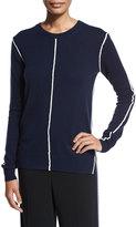 Derek Lam 10 Crosby Long-Sleeve Crewneck Cashmere Sweater, Midnight