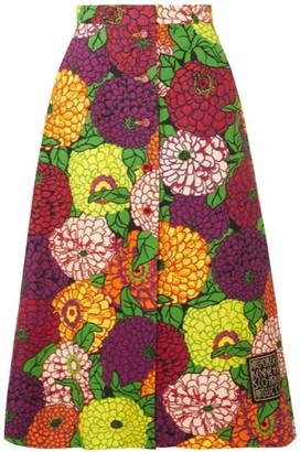 Gucci X Ken Scott Floral-Print Cotton-Blend Skirt