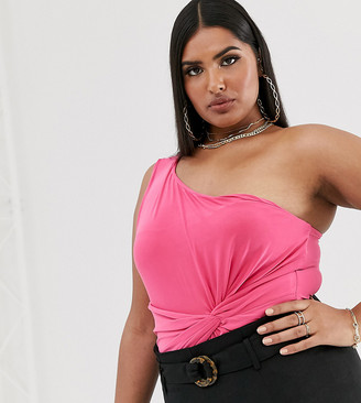 Club L London Plus ruched knot front one shoulder body in hot pink