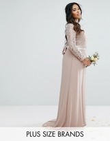 TFNC Plus Wedding Lace Maxi Dress With Bow Back