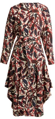 Chloé Paisley-print Silk Crepe De Chine Midi Dress - Womens - White Multi