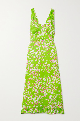 Faithfull The Brand Emili Floral-print Crepe De Chine Dress - Lime green