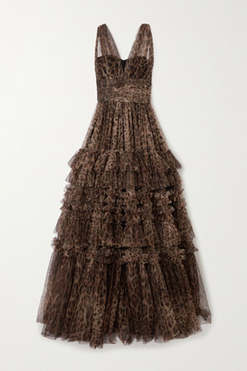 Dolce & Gabbana Ruffled Tiered Leopard-print Tulle Gown - Brown