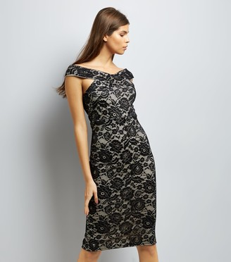 New Look AX Paris Lace Cross Front Midi Dress