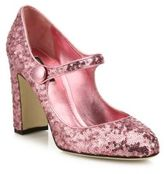 Dolce & Gabbana Sequin Mary Jane Block-Heel Pumps