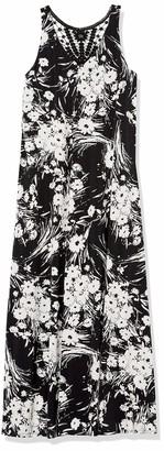 Gabby Skye Women's Plus Size Sleeveless Floral Print Crochet Back ITY Maxi Dress