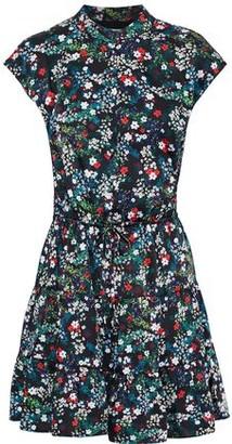 Rebecca Minkoff Ollie Gathered Floral-print Satin-twill Mini Dress
