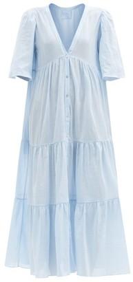 Loup Charmant Symi Tiered Organic-cotton Maxi Dress - Light Blue