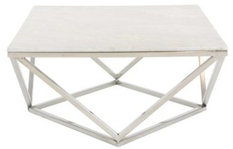 """Decmode DecMode 29"""" Square White Marble Coffee Table w/ Silver Stainless Steel Modern Geometric Base"""