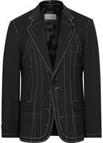 Maison Margiela Black Slim-Fit Basting-Stitched Wool-Blend Blazer