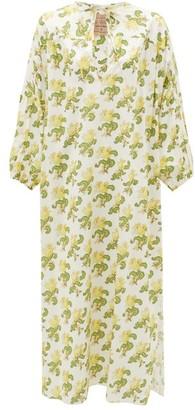 By Walid Rose Floral-print Cotton-poplin Lawn Dress - Yellow White