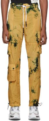 Palm Angels Yellow Tie-Dye Cargo Pants