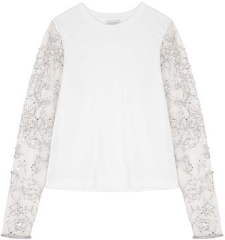 Dries Van Noten White Sequin-embellished Jersey Top