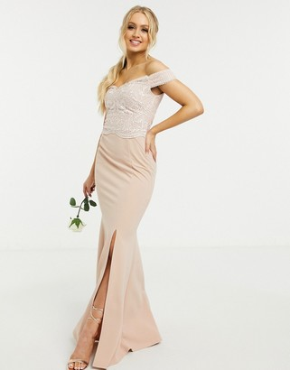 Lipsy Bridesmaid bardot maxi dress with split in light pink