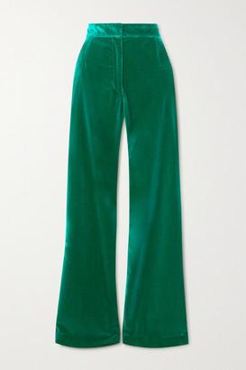 Dries Van Noten Cotton-velvet Flared Pants - Green