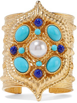 Ben-Amun Gold-plated, enamel and faux pearl cuff