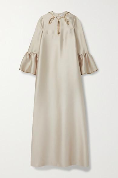 Reem Acra Cutout Metallic-trimmed Satin-pique Gown - Beige