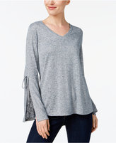 Style&Co. Style & Co V-Neck Tie-Sleeve Top, Created for Macy's