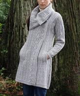 West End Knitwear Women's Overcoats SOFT - Soft Gray Chunky Collar Wool Coat - Women