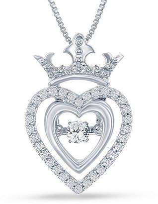 "Enchanted Disney Fine Jewelry 1/5 C.T. T.W. Genuine Diamond Silver Heart ""Disney Princess"" Crown Pendant Necklace No Color Family"