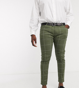 ASOS DESIGN Plus skinny jeans in green check