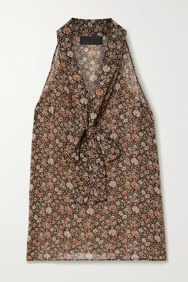 Nili Lotan Pussy-bow Floral-print Silk Crepe De Chine Top - Brown