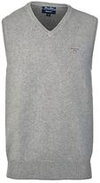 Gant Solid Cotton Sleeveless Jumper, Grey