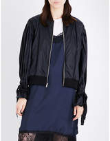 Clu Pleated puff-sleeve sheell bomber jacket
