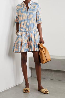 DIANE VON FURSTENBERG - Beata Tiered Leopard-print Cotton-jacquard Mini Shirt Dress - Blue