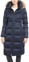 Eliza J Water Resistant Down Jacket with Faux Fur Trim