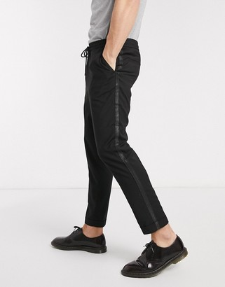 Moss Bros cropped trousers with side stripe in black