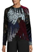 Romance Was Born Feather Appliqued Lace Top