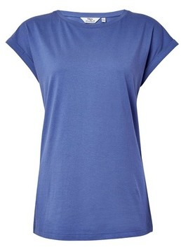 Dorothy Perkins Womens **Tall Blue Roll Sleeve Tee, Blue