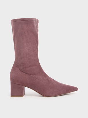 Charles & Keith Textured Pointed Toe Calf Boots