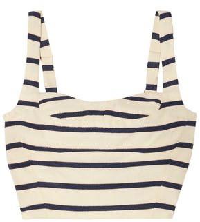 Veronica Beard Gina Metallic Striped Cotton-canvas Bustier Top