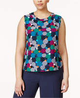 Anne Klein Plus Size Bubble-Print Shell