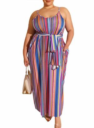 CORAFRITZ Women's Plus Size Dresses Stylish Sling Sleeveless Stripe Print Loose Fit Tie Waist Oversized Maxi Dress Rose