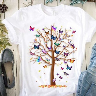 Moent Womens Long Sleeve Casual Tops Women's Casual Round Neck Short Slee Butterfly Tree Print Top T Shirt(White-L)