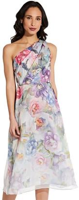 Adrianna Papell One Shoulder Organza Midi Dress