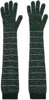 Prada Striped Metallic Wool-blend Gloves - Green