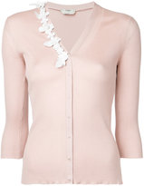 Fendi embroidered cardigan - women - Silk/Lamb Skin - 42