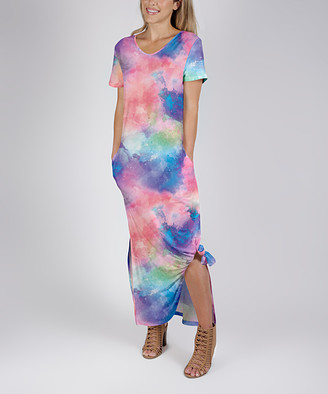 Beyond This Plane Women's Maxi Dresses PNK - Pink & Blue Watercolor Side-Pocket Round-Hem Maxi Dress - Women & Plus
